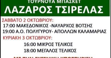 """Τουρνουά μπάσκετ """"ΛΑΖΑΡΟΣ ΤΣΙΡΕΛΑΣ"""" θα διεξαχθεί στο Κλειστό Γυμναστήριο Πολυγύρου, στη μνήμη του Λάζαρου Τσιρέλα"""